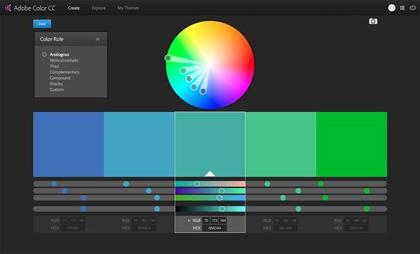 سيكولوجية الألوان - موقع Adobe Color لاختيار الألوان المناسبة للعلامة التجارية